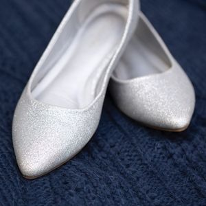 Shoes - Silver Glitter Flats